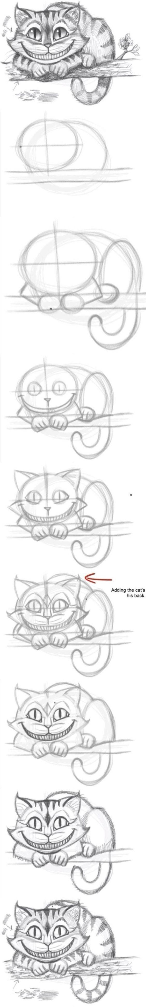Уроки рисования карандашом. Чеширский кот