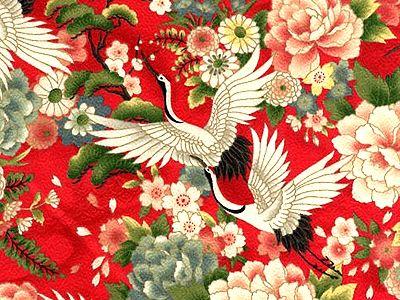 KIMONO DESIGN: CRANES OVER FLORAL GARDEN - RED (1/2 YD) http://www.debsews2.com/kimono-design-cranes-over-floral-garden--red-12-12.html