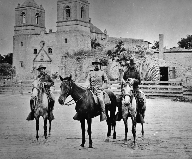 From Traces of Texas: Teddy Roosevelt in San Antonio for Rough Rider reunions AFTER the Spanish-American war, but never any during the time he was actually recruiting for that war, before they all went off to Cuba for the charge up San Juan Hill. This photo was taken in 1897 when Teddy was looking for volunteers to join him. Here he is in front of Mission Concepcion which is still standing today.