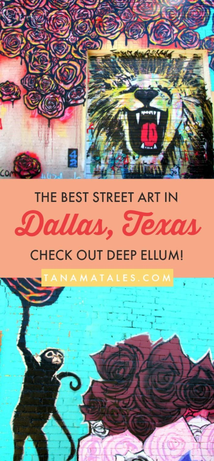 Free and fun things to do in #Dallas, #Texas - Discover the best street art in Dallas at the Deep Ellum neighborhood (part of Downtown). The area contains more than 40 elaborated murals. You will understand right away why this is one of the most popular attractions in the city.  A must see if you like color and creativity. This area is for adults, teens, families and even those looking for romantic / creative places for photos. #streetart #deepellum #TravelDestinationsUsaTexas