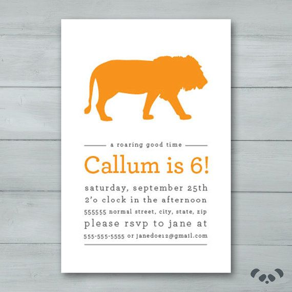 Lion Birthday Party Invitation    Lion by PandafunkCreations