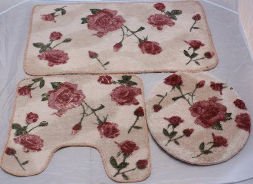 3pcs Pink Rose Bath Mat Rug Bathroom Set Bathroom Rug