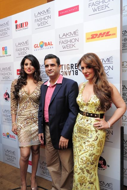 Showstopper Mahi Gill with  Chandra shekhar Pitre Senior Director Marketing DHL-Express and Pria Kataaria Puri at  Lakme Fashion Week Winter Festive 2013