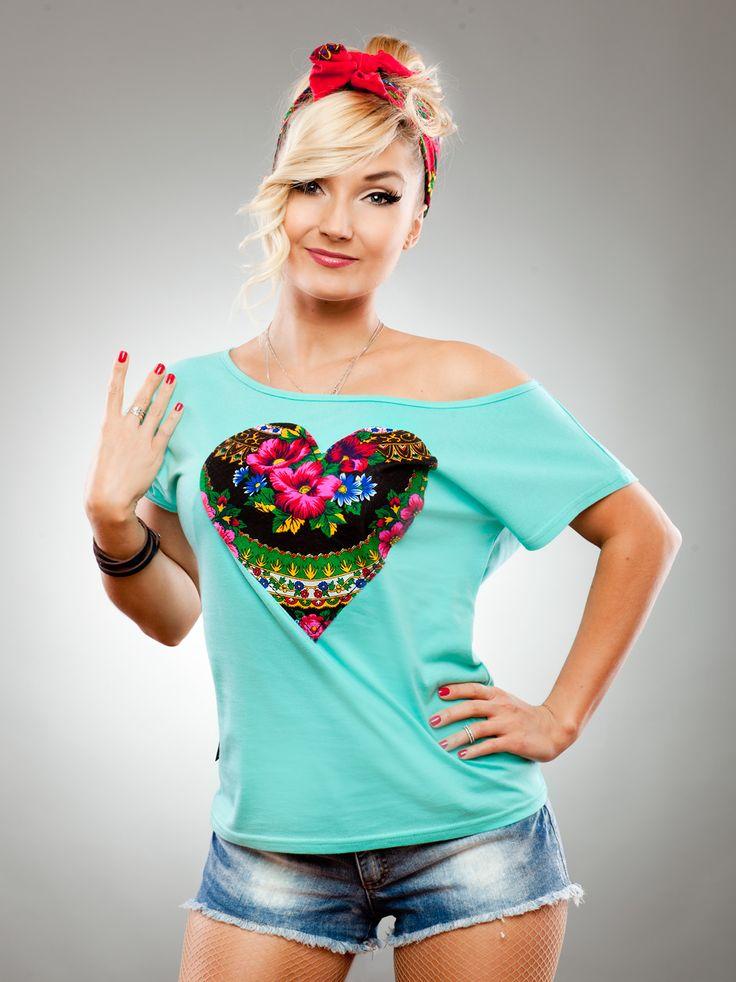 Heart Haft Shoulder Mint Black - Slavica - Urban City - skateshop, streetwear, Hip Hop odzież z USA, Europy i Polski