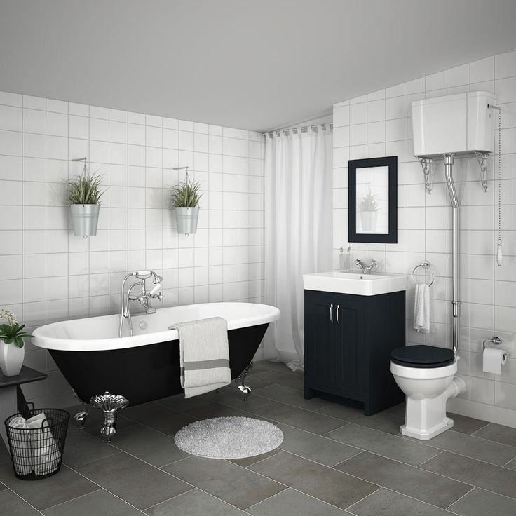 SHOP Chatsworth High Level Graphite Roll Top Bathroom Suite featuring a stunning off-black vanity unit, high level toilet and a 1695mm long double ended freestanding bath.