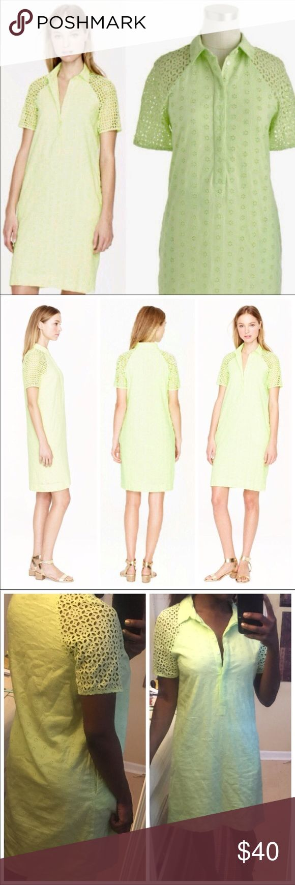 J. Crew Eyelet Shift Dress Eyelet button down collared dress from j crew. Short sleeves. Shift style. Light neon green. Falls just above the knee. Very unique, fun style.   🌸 zara 🌸 asos 🌸 free people 🌸 reformation 🌸 for love and lemons 🌸 self portrait 🌸 anthropologie J. Crew Dresses