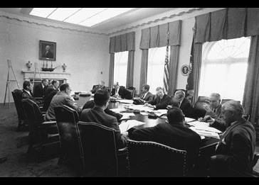 Kennedy meeting with EXCOMM. PBS documentary examines the Cuban Missle Crisis on its 50th anniversary.
