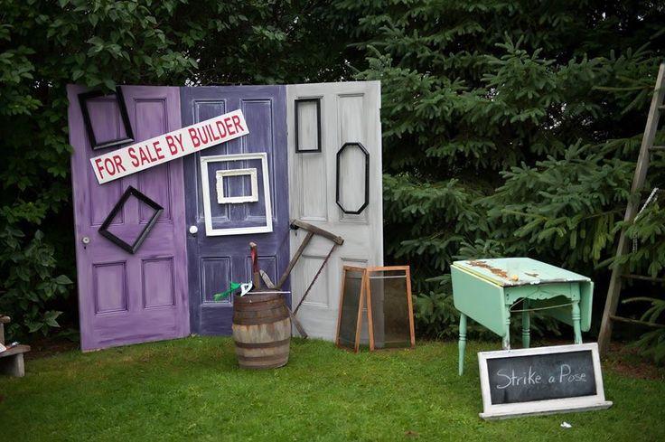 Wedding photo booth, old doors, purple wedding
