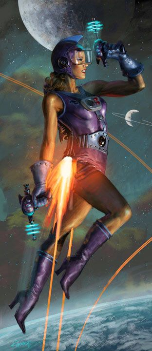 Astrogirl by Michael Komarck, Spaceship, spacesuit raygun astronaut pulp retro futurism back to the future tomorrow tomorrowland space planet age sci-fi airship steampunk dieselpunk alien aliens martian martians BEMs BEM's