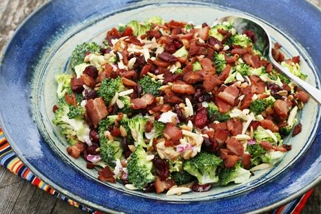 Broccoli Salad - Add craisins, almonds & sunflower seeds - I added craisins and walnuts...so good! I'll always add them now!