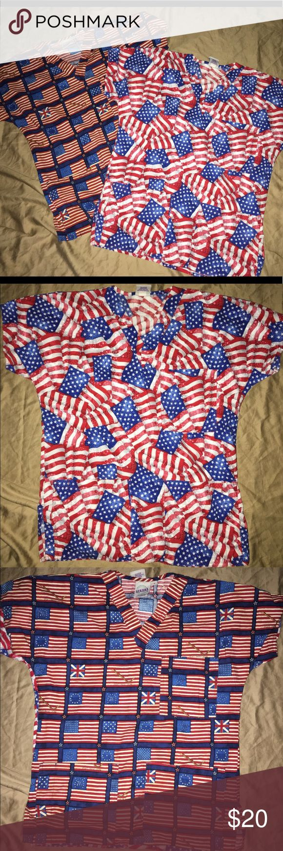 """SCRUBS womens american themed scrub top sz: S for sale is a two-piece womens medical/dental scrub set.  Great condition, no rips or stains. If you have any questions or would like additional photos please feel free to ask.   Brand: S.C.R.U.B.S.  Sz: S  Theme: America   Great for Fourth of July, memorial day, Veterans Day, any day you feel like showing support for this great country.   From under one arm to under the other measures appx 22"""" from the top of the shoulder to the bottom of the…"""