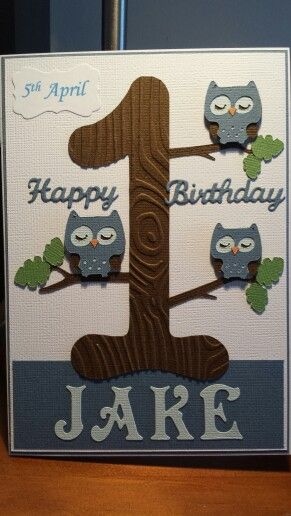 1st birthday card using create a critter owl.