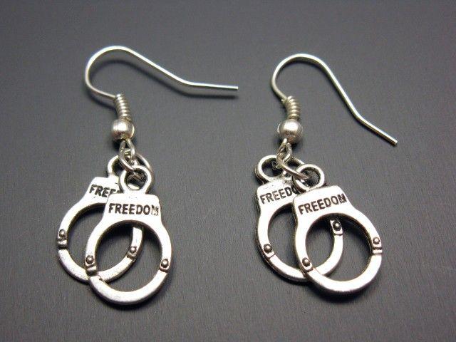 Handcuffs Earrings  hand cuffs punk jewelry emo cute by Szeya, $10.00