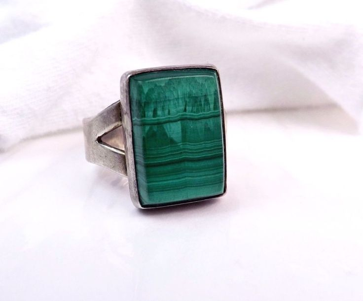 Old MENS Sterling Silver Native American Green Malachite BB Size 10 1/2 Ring #Handmade #Signet