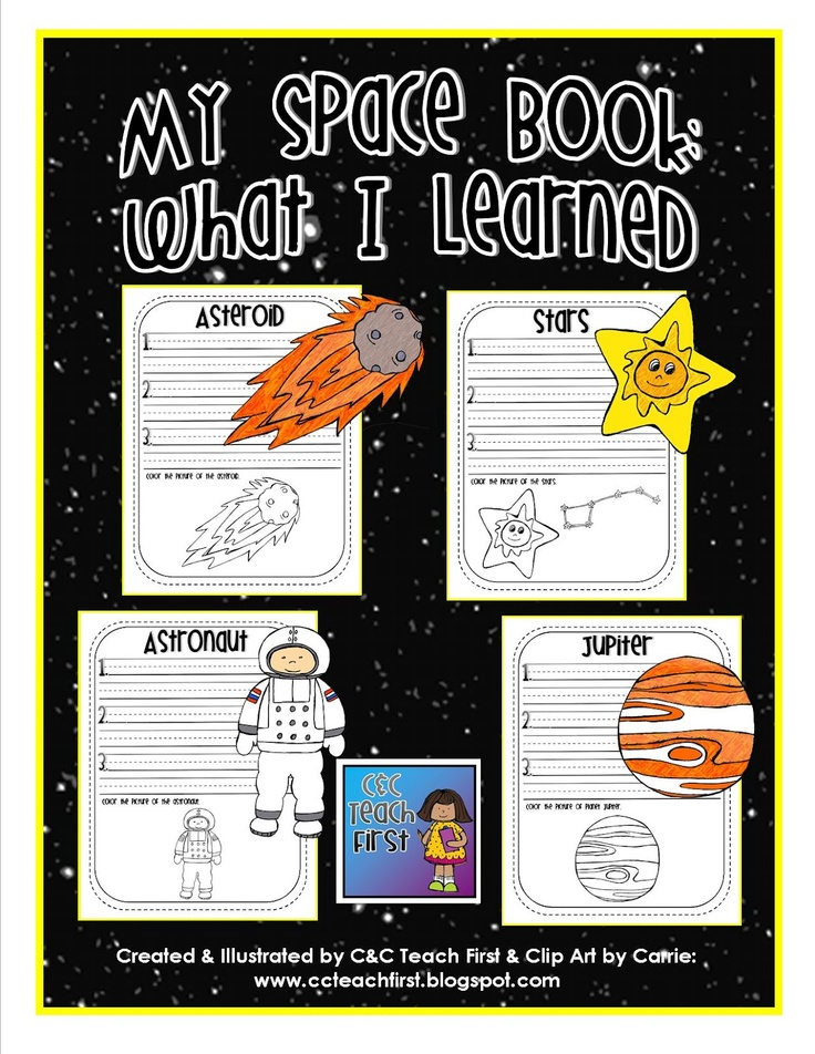 My Space Book:  includes facts sheets for:  Mercury, Venus, Earth, Mars, Jupiter, Saturn, Uranus, Neptune, Pluto, Sun, moon, star, galaxy, universe, astronaut, astronomer, solar system, asteroid, and comet.  Created with Space Doodles:  Clip Art by Carrie