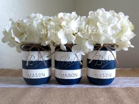 Nautical Baby Shower Centerpiece, Navy Blue And White Stripes Distressed Mason  Jar, Nautical Mason