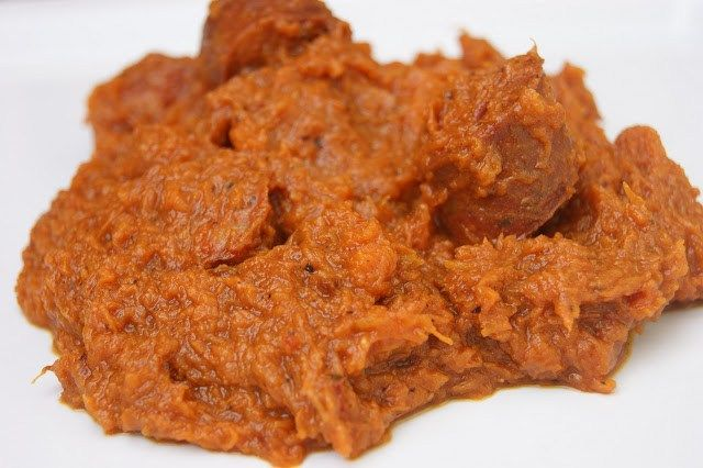 Calabaza frita con longaniza