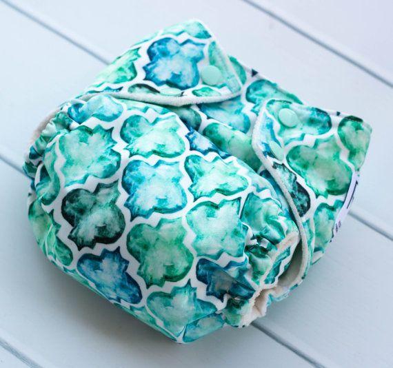 One Size Cloth Diapers. Aqua Moroccan Cloth Diaper. All in