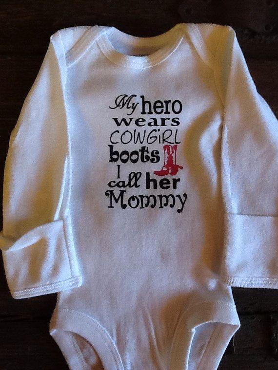 My hero wears cowgirl boots baby onesie by TiffanysBraidedTack