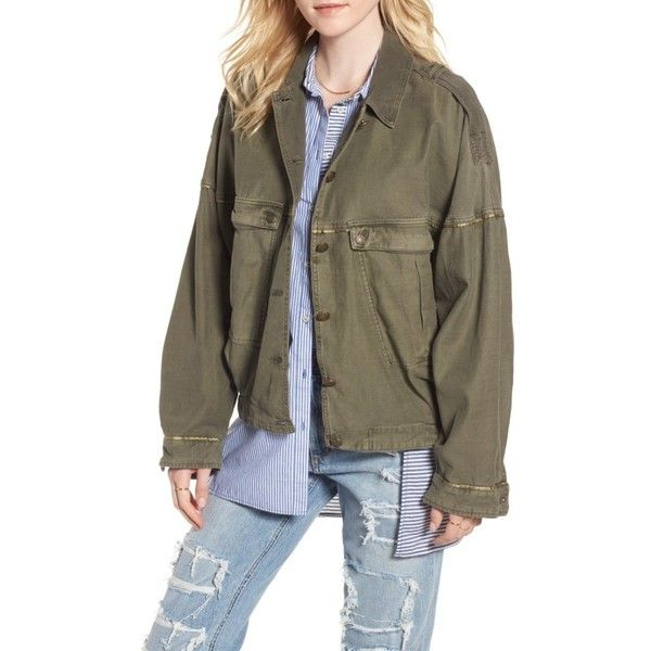 Women's Free People Slouchy Military Jacket ($148) ❤ liked on Polyvore featuring outerwear, jackets, moss, slouchy jacket, military style field jacket, military army jacket, field jackets and military jackets