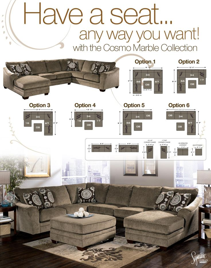 Cosmo - Marble Sectional Sofa with Chaise Lounger by Signature Design by Ashley - L Fish - Sofa Sectional Indianapolis, Greenwood, Greenfield, Fishers, Noblesville, Carmel, Avon, Plainfield, IN