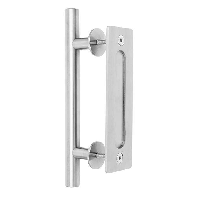 Brushed Nickel Barn Door Sliding Large Stainless Steel Sliding Barn Door Handle 12 By Charmedlife Set Includes B Barn Door Handles Door Handles Barn Door