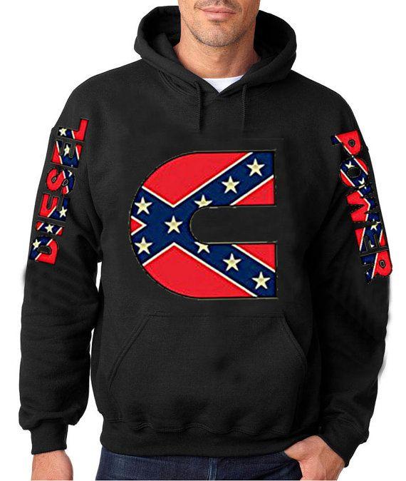 Dodge Ram Hoodie >> Diesel Power Confederate C Rebel Flag Hoodie. Add Names ...