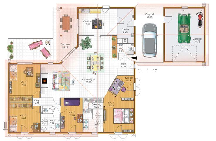 Plan angle 3 chambres bureau