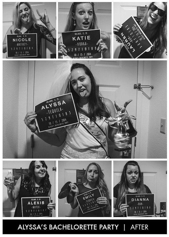 Custom Bachelorette Party Mug Shot Signs by NicsKnacksNYC on Etsy