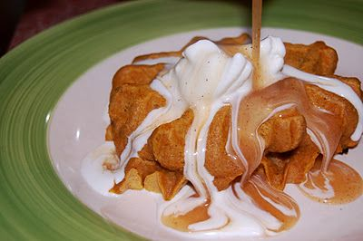Pumpkin Waffles with Apple Cider Syrup | Yum | Pinterest