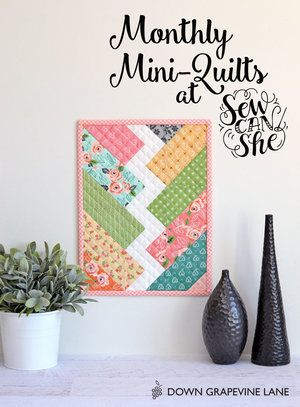Monthly Mini Quilts for March! {plus a jelly roll fabric giveaway from Riley Blake} — SewCanShe   Free Daily Sewing Tutorials