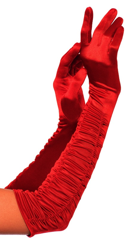 Opera length ruched satin gloves.