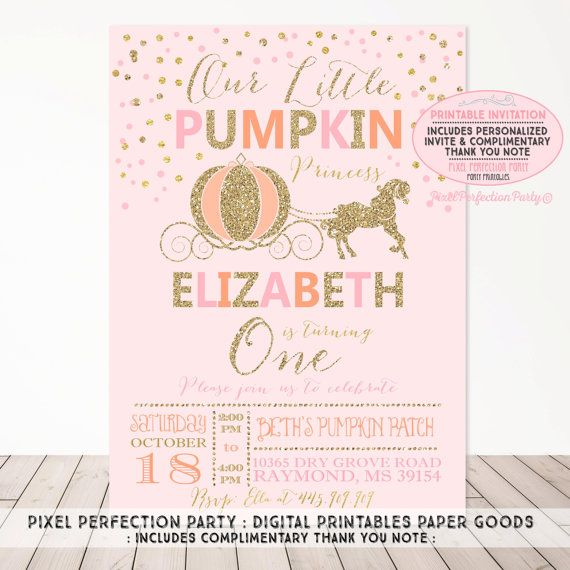 Pumpkin Invitation Our Little Pumpkin Birthday Invitation Princess Pumpkin Carriage Pink & Gold Sparkle Invitation Pumpkin Carriage Party