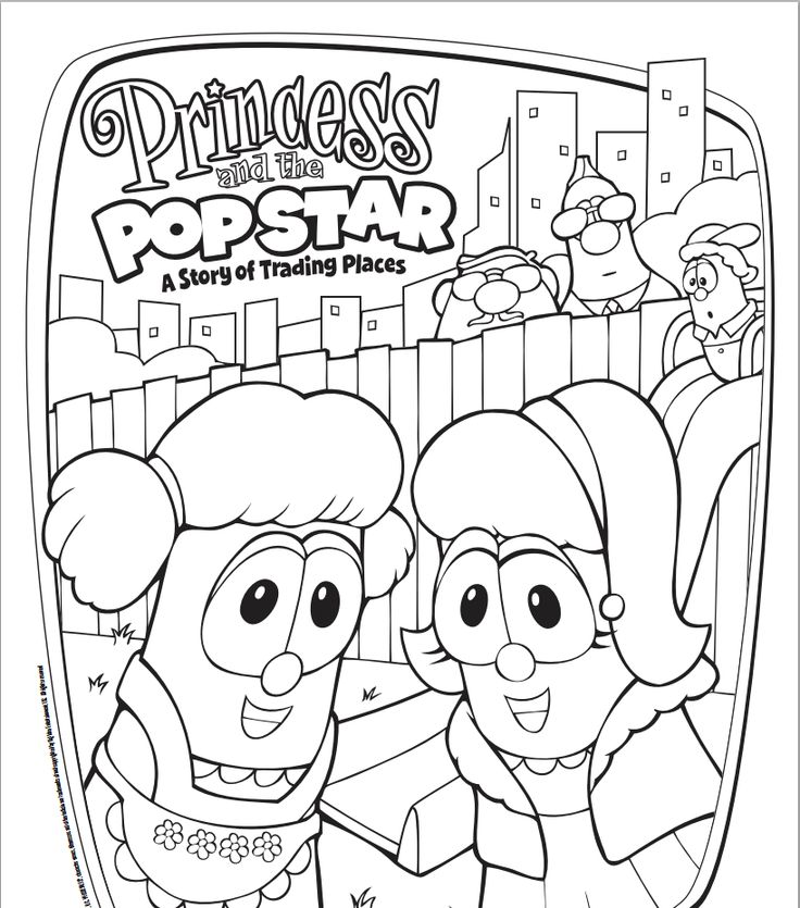 free veggietales princess and the popstar coloring page - Free Veggie Tales Coloring Pages 2
