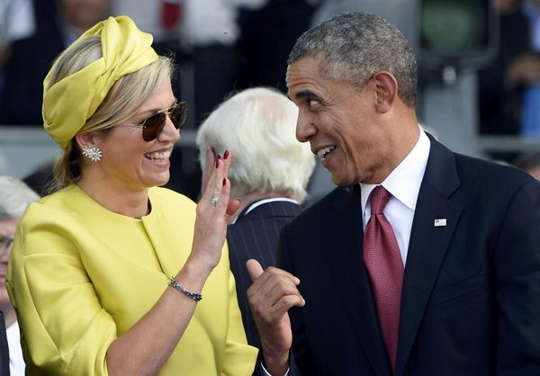 D-Day celebrations: Queen Maxima joking with President Obama