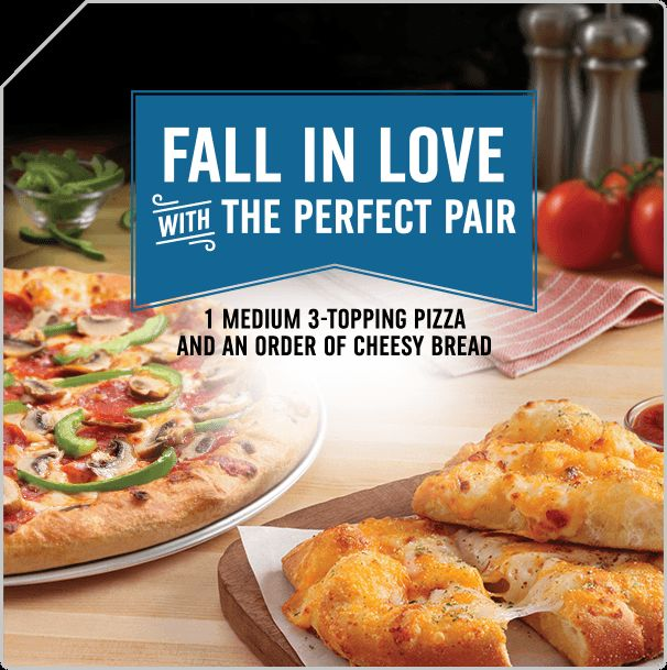 Dominos Pizza coupons orders deals  promocodes Fall in Love With the Perfect Pair 1 medium and 3 Topping Pizza and an order of cheesy bread. http://dominospizzacoupons.net/