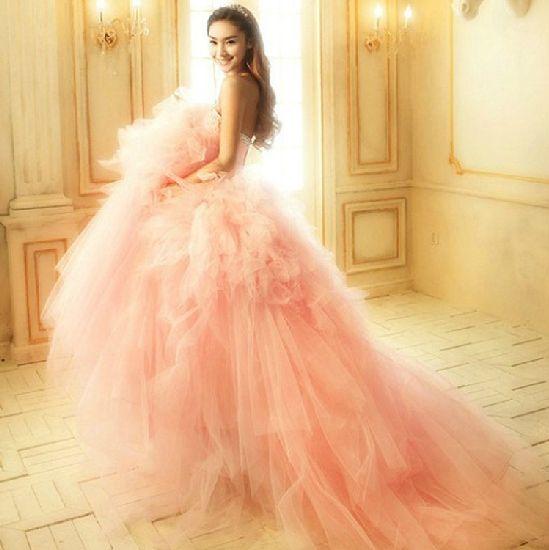 カラードレス★ウェディングドレス★ピンク色★二次会/お色直し - ヤフオク!