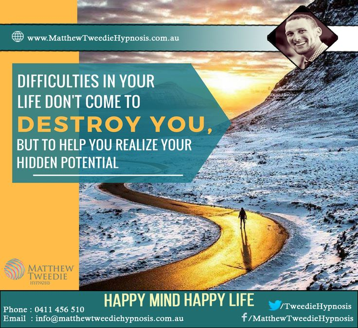 Difficulties in life are intended to make us BETTER, not BITTER. When you are suffering from depression, it may seem like you are all alone. Learn how hypnosis can pick you up from depression; http://matthewtweediehypnosis.com.au/hypnotherapy-depression-adelaide/ #StressFreeLife #LiveLife # #WhyHypnotherapy #TimeForLife #NewLife #StressFreeLife