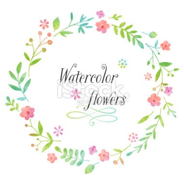 Watercolor Floral Wreath Royalty Free Stock Vector Art Illustration