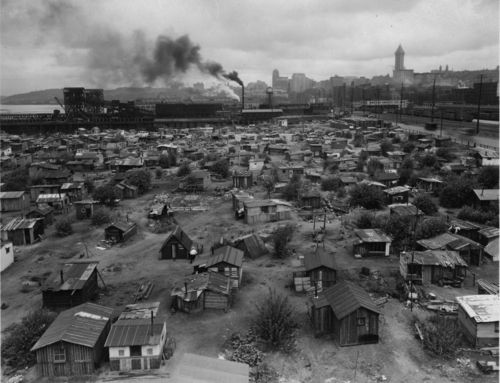 """""""A shantytown located near S. Atlantic Street, Seattle, WA, ca. 1937  """"Hooverville"""" became a common term used to refer to the shantytowns and encampments otherwise homeless individuals and families formed during the Great Depression. There were hundreds of Hoovervilles throughout the United States.  The term """"Hooverville"""" carried a political connotation, as it emphasized that President Herbert Hoover and the Republican Party were to be held responsible for the economic crisis and its…"""