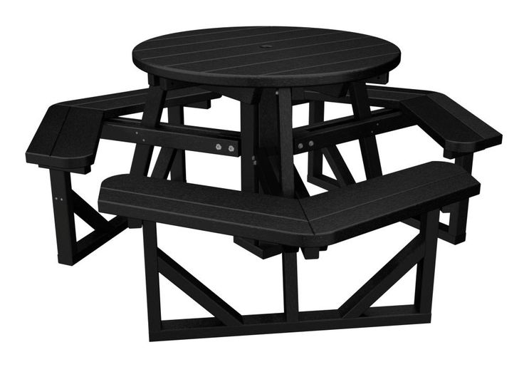 This round picnic table provides a more intimate seating option. Polywood furniture is constructed of solid Polywood recycled lumber that's available in a variety of attractive, fade-resistant colors. It won't splinter, crack, chip, peel or rot and it never needs to be painted, stained or waterproofed. It's also designed to withstand nature's elements as well as to resist stains, corrosive substances, insects, fungi, salt spray and other environmental stresses.
