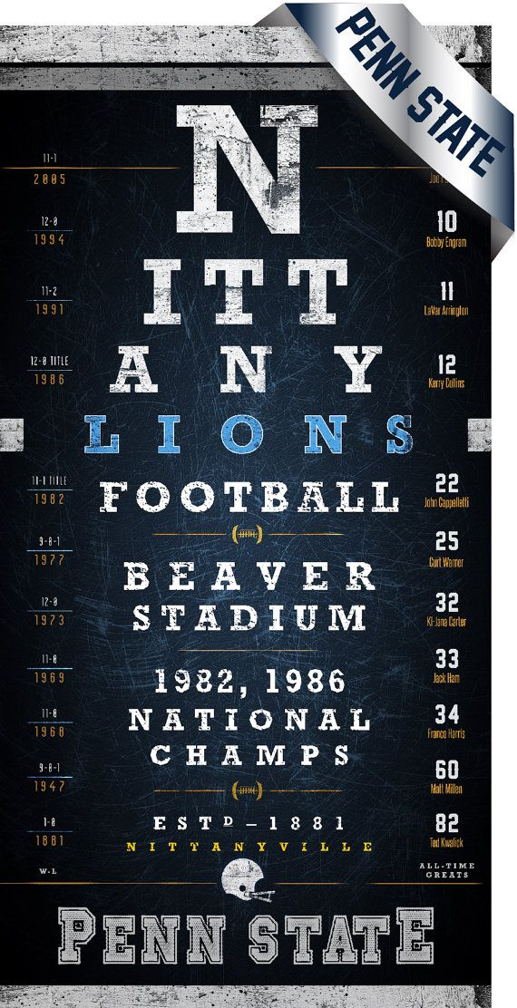 Penn State Nittany Lions Beaver Stadium Eye Chart - Midnight Blue - Perfect Valentines, Birthday and Anniversary - Unframed Prints on Etsy, $26.50