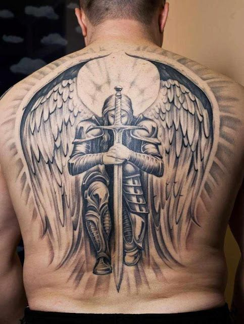 Angel with sword tattoo on back