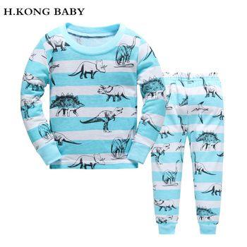 H.kong baby New Kids Pajamas Sets boys night suit  Children dinosaur cartoon Sleepwear Pyjamas kids 100% Cotton nightwear   Price: 6.87 USD