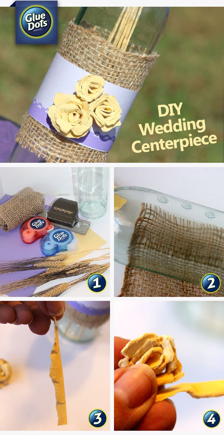 DIY Wedding Centerpieces - Make wedding centerpieces with glass bottles, paper and #GlueDots - available at HobbyCraft