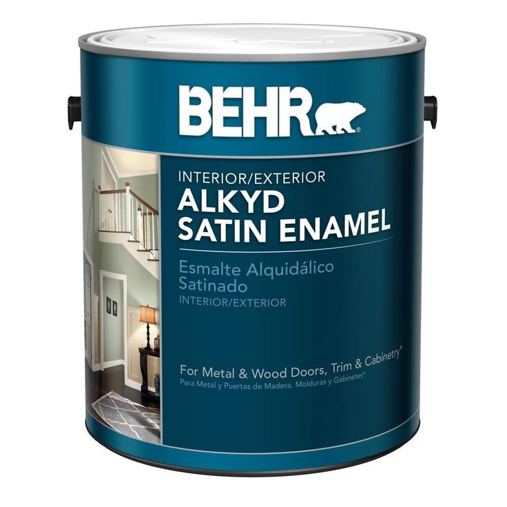 Cabinet/door paint -- alternative to oil based.  BEHR 1 gal. White Alkyd Satin Enamel Interior/Exterior Paint-790001 - The Home Depot