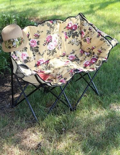 Not a huge fan of the pattern but love the loveseat design | CHINTZ TETE A TETE LAWN CHAIR - Outdoor Foldable Loveseat, Camping Chair