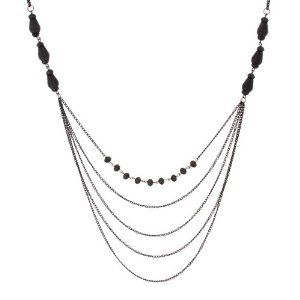 """Sparkling Women Black Beaded Necklace By Urban Jewelry (Long Necklace - 34-41"""")"""
