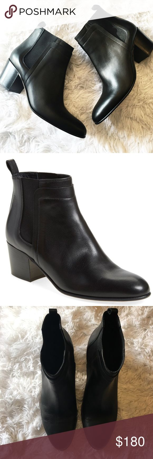 New Vince Hallie Black Leather Ankle Boots So chic and perfectly on trend! Brand new without box. Size 10/40. Elastic panel. Pull on tab. No trades!! 042517400nrt Vince Shoes Ankle Boots & Booties