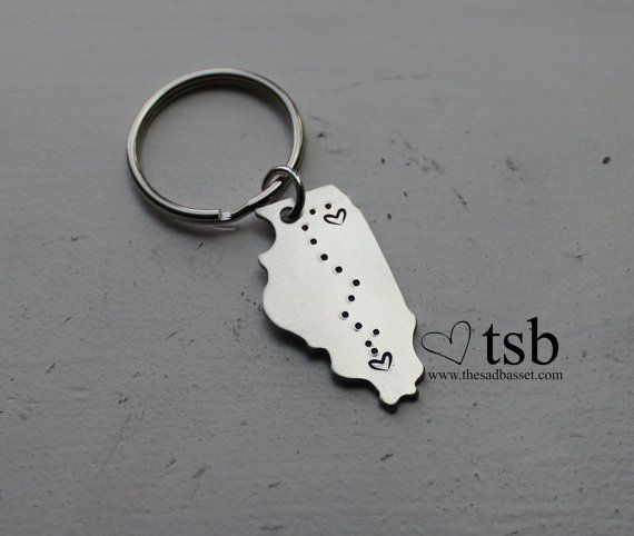 Long Distance Love Handstamped US State Keychain  by TheSadBasset, $12.00